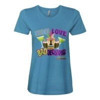 Beach Bum Band Peace Love and Bad Decisions Ladies Fitted Tee