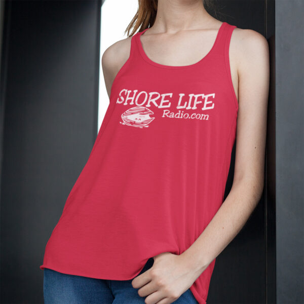 Shore Life Radio Clam Logo Ladies Racerback Tank