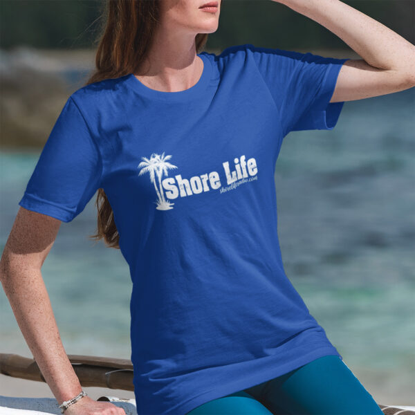 Shore Life Radio Palm Tree Women's Fitted T-Shirt